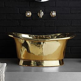 Countertop vintage design washbasin entirely in bras, Calla