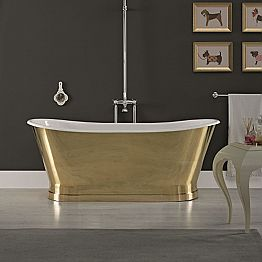 Design cast iron bathtub with external cover in vintage brass, Roy
