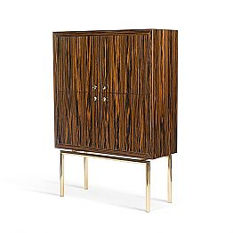Modern design cabinet Ada with 4 doors, made of ebony, glossy finish