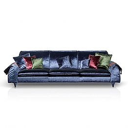 Linear sofa Axel with fabric upholstery and storage armrests
