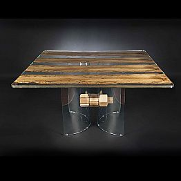 Modern wooden and glass table Venezia, designed
