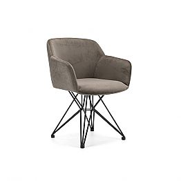 Living Chair with Black Tubular Base and Fabric or Leather Seat, 4 Pieces - Bardella