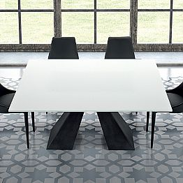 Squared Table in Tempered Extrawhite Glass and Steel Made in Italy – Dalmata