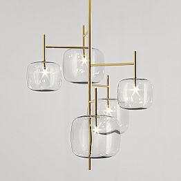 Suspension Lamp with Shiny Metal Structure Made in Italy - Donatina
