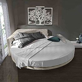 Modern Round Double Bed with Angular Headboard Made in Italy - Tima