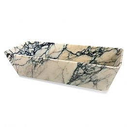 Countertop Washbasin in Paonazzo Marble Squared Design Made in Italy - Karpa