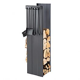 Design Firewood Holder with 4 Interior Tools Made in Italy - Janet