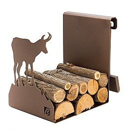 Indoor Firewood Holder in Brown Steel Made in Italy with Tools - Volturno