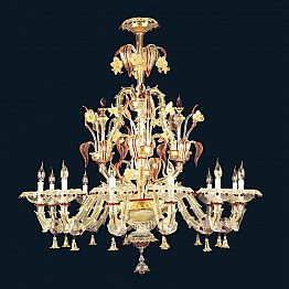 Murano Glass Chandelier with 12 Lights Baroque Design Made in Italy – Aberardo