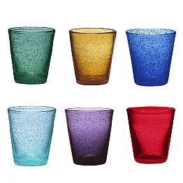 Set of 12 Colored Blown Glass Glasses with a Modern Design - Pumba