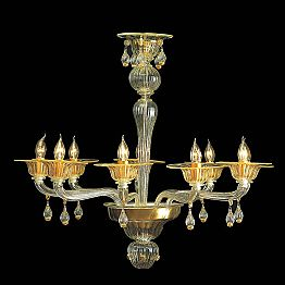 Vintage Murano Glass Chandelier with 9 Lights Made in Italy – Riginaldo