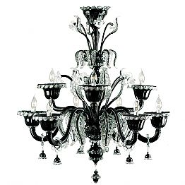 Murano Glass Classic Black Chandelier with 9 Lights Made in Italy – Battistino