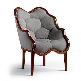 Modern upholstered armchair Berga, made in Italy, solid wood structure