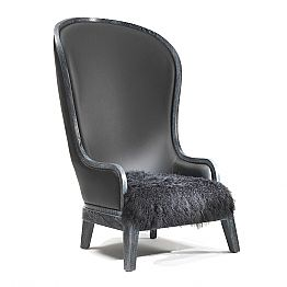 Black leather armchair Eli with fur, luxury design
