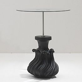 Coffee table Margo Ø 60 cm, crystal and black sandblasted solid wood