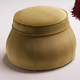 Upholstered lounge pouf Simon, classic luxury design made in Italy
