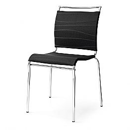 Design Chair for Dining Room Chromed Metal and Fabric Made in Italy, 2 pieces - Air