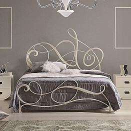 Wrought iron double bed Atena, classic design, handmade in Italy