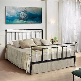 Wrought iron double bed Kate, classic design, handmade in Italy