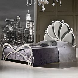 Upholstered iron double bed with crystal decorations Kimberly
