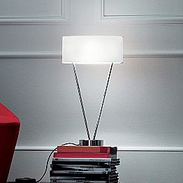 Leucos Vittoria T designer table lamp made of white blown glass