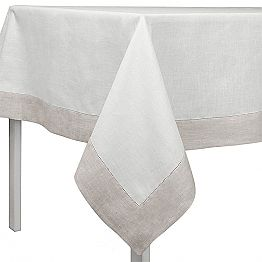 White and Natural Linen Tablecloth, Rectangular or Square Made in Italy - Chiana