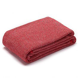 Plaid for Bed or Sofa in Red and White crumpled Linen Made in Italy - Grano