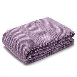 Plaid with Crumpled Effect in Purple and White Linen Made in Italy - Grano