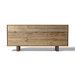 Modern sideboard Flora with 3 doors in natural walnut, L 215 x W 50 cm