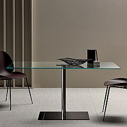 Modern Rectangular Table in Smoked or Extralight Glass Made in Italy - Dolce