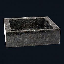 Rectangular countertop washbasin made of labradorite stone, Zelig