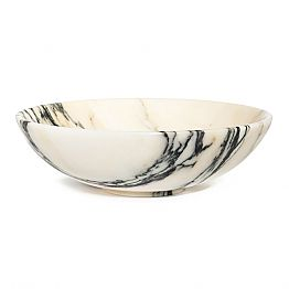Large Round Bowl in Portoro or Paonazzo Marble Made in Italy - Glazer