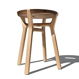 Low Design Stool in Beech and Solid Walnut Made in Italy - Nuna