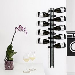 Wall mounted bottle holder Baby Big L6xH100xP11cm, fumé finish
