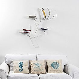 White wall-mounted bookcase Carol, modern design, made in Italy