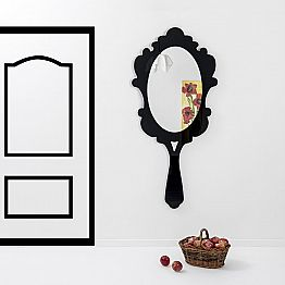 Modern design wall mirror with decorated frame Neve, black finish