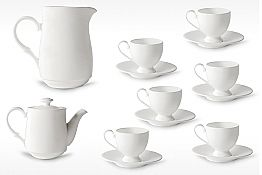 Cappuccino Cups Service with Foot 14 Pieces in White Porcelain - Armanda