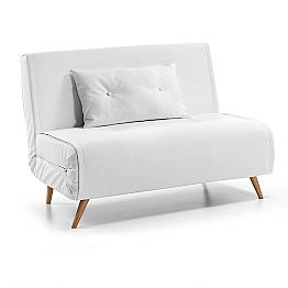 Modern design sofa-bed made of white artificial leather Eli