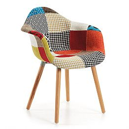 Chair in wood and patchwork fabric by Lucienne modern design