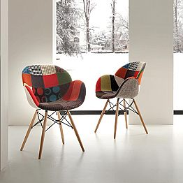 Designer patchwork chair with solid wood legs Nora