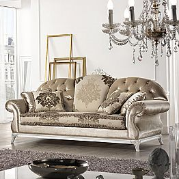 Made in Italy 2 seater fabric sofa, classic design, Liberty
