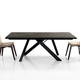 Extendable dining table in glass-ceramic made in Italy, Wilmer