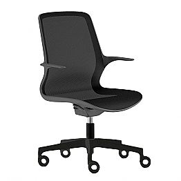 Office Chair with Swivel Wheels in Black Mesh and Black Nylon - Ayumu