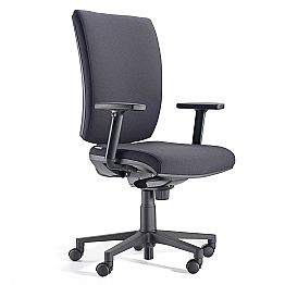 Ergonomic Swivel Office Chair with Armrests in Black Fabric - Macrino