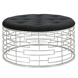 Modern Design Round Soft Pouf in Velvet, Iron and MDF - Saxon