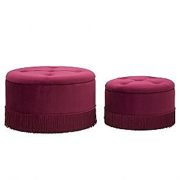Pair of Modern Round Velvet and Wood Bordeaux Pouf Containers - Wallace