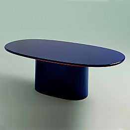 Modern Design Oval Dining Table in Blue MDF and Copper Made in Italy - Oku