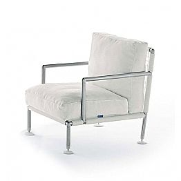 Modern Design Armchair in Steel and Black or White PVC for Outdoor - Ontario2