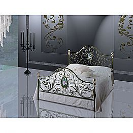Wrought-iron small double bed Turchese