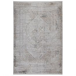 Non-slip Carpet in Grey Beige Acrilic and Viscose with Drawing - President